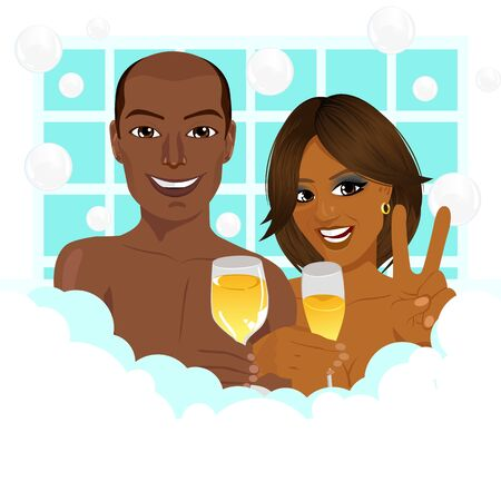 african american couple: A young african american couple taking a bath with champagne showing a victory sign