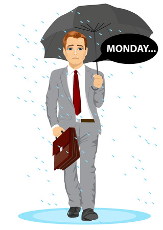 pathetic: young businessman holding umbrella walking sad to work with speech bubble with monday text message