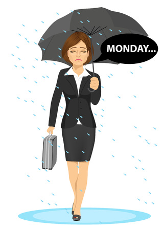morning walk: young businesswoman holding umbrella walking sad to work with speech bubble with monday text message