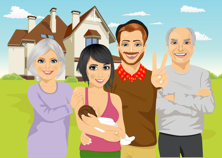 front of house: A family including parents with newborn baby and grandparents standing in front of classic cottage in the summer landscape