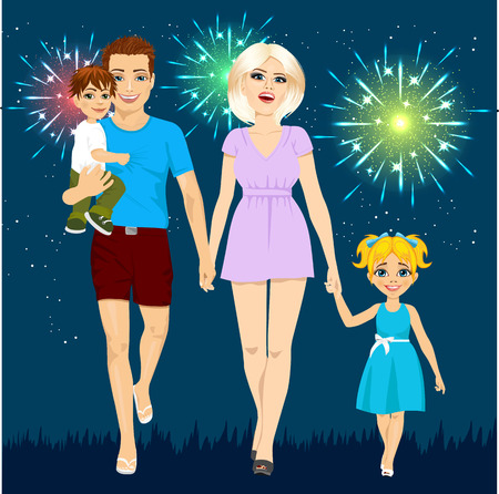 Family enjoying firework display on summer holiday night. Fireworks party Illustration