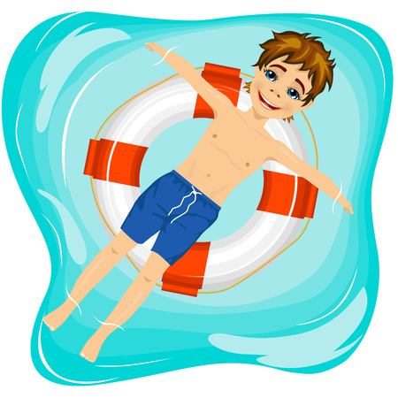 young boy in pool: top view of young happy boy floating on an inflatable circle in the pool