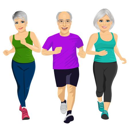 mature men: group of senior runner men and women running together isolated over white background