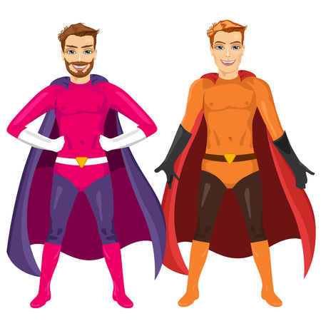 caped: two young men in superhero costume standing legs apart isolated over white background Illustration