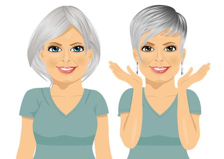 reife Frau mit verschiedenen Frisuren auf weißem Hintergrund