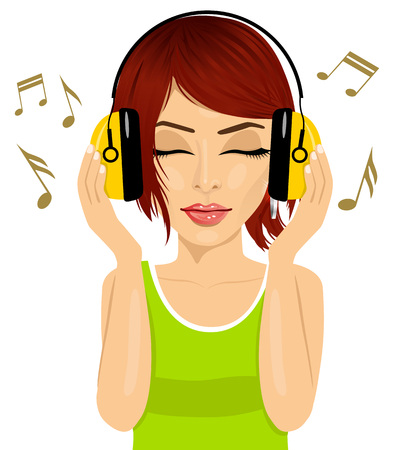 haired: closeup portrait of young beautiful red haired woman enjoying the music with headphones Illustration