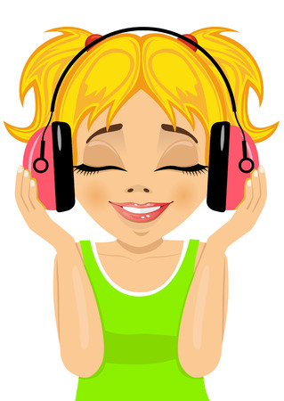 blonde little girl: little cute blonde girl enjoys listening to music with headphones on white background