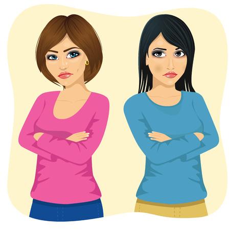retrato de dos mujeres enojadas que miran el uno al otro por encima del hombro con los brazos cruzados Ilustración de vector