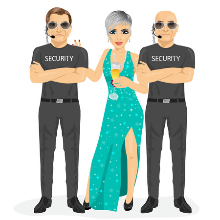 famous actress: professional security guard standing with arms folded protecting famous woman with a glass of champagne isolated on white background
