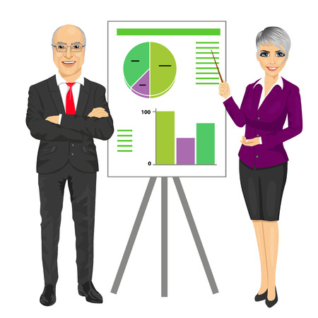 arms folded: senior business man with arms folded and young woman making presentation with graphs on board isolated on white background Illustration