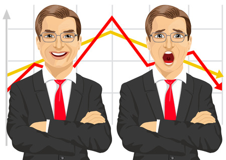 arms folded: illustration of businessmen with arms folded showing different facial expressions in front of line graphs Illustration