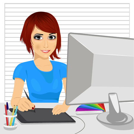 graphic tablet: portrait of cute asian female designer in office working with digital graphic tablet and digital pen Illustration