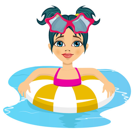inflatable: Portrait of happy child girl swimming in pool on inflatable ring