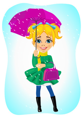rain coat: little cute girl standing in autumn coat with purple umbrella in the rain holding handbag Illustration
