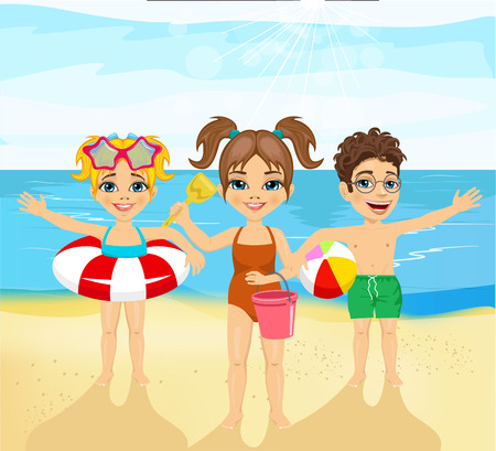 inflatable ball: children with inflatable rings, ball, pail and shovel standing on the beach greeting Illustration