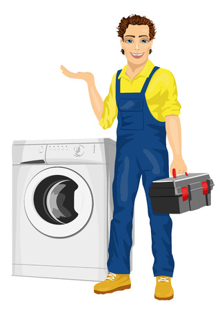 fixing: Repairman holding a toolbox and posing next to a washing machine showing something isolated on white background Illustration