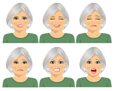 set of different expressions of the same senior woman over white background