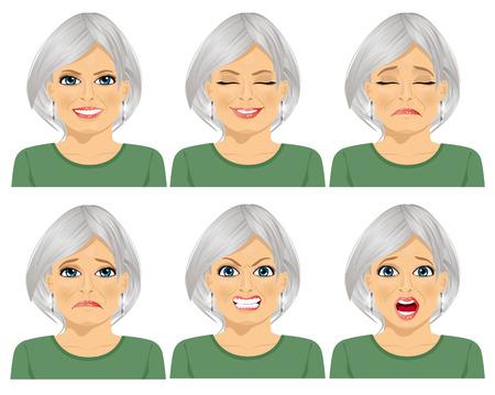 Conjunto de diversas expresiones de la misma mujer mayor sobre el fondo blanco