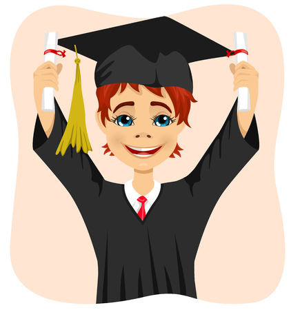 both: young student boy holding two diplomas with both hands on graduation day isolated on white background