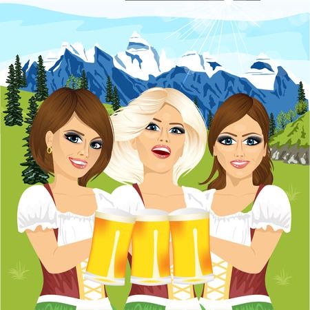 Drie mooie oktoberfest meisjes houden bierpullen tegen land scène met bergen Stock Illustratie