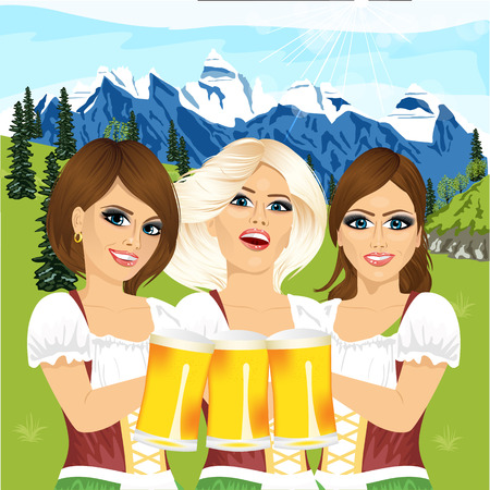 Three pretty oktoberfest girls holding beer tankards against country scene with mountains