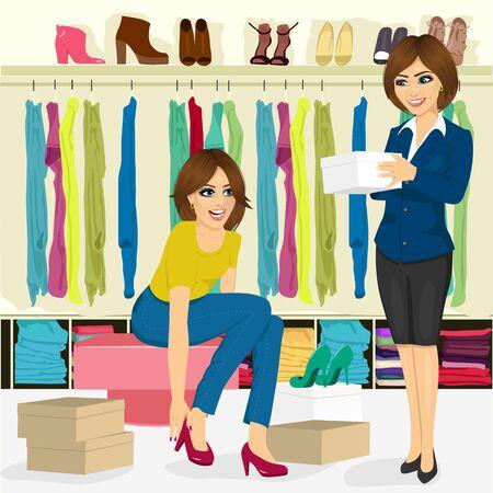 giovane donna attraente cercando su scarpe diverse con l'aiuto dell'assistente negozio di scarpe