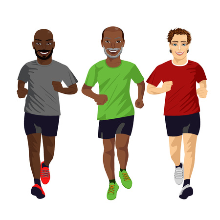 endurance run: Group of male runners exercising isolated on white background Illustration