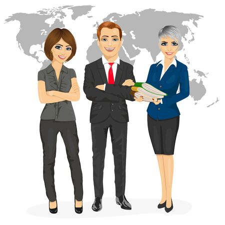 arms folded: successful professional business team standing with arms folded in front of an earth map isolated on white background