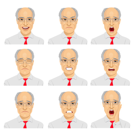 the same: set of different expressions of the same senior businessman with glasses over white background