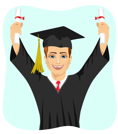 both: young male student holding two diplomas with both hands on graduation day isolated on white background