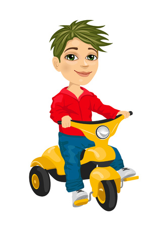 isolated over white: cute little boy riding a tricycle isolated over white background