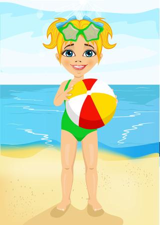 inflatable ball: little girl with sunglasses holding an inflatable striped ball at the beach Illustration