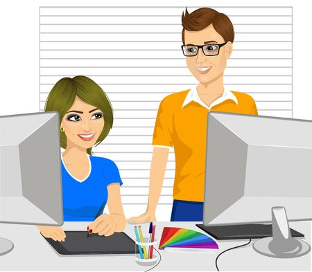 colleague: male graphic designer partner helping his female colleague how to work with a graphic tablet in office Illustration