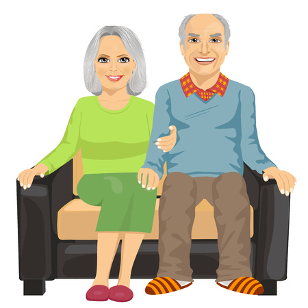 grey hair: Romantic elderly couple sitting close together on a sofa isolated on white background Illustration