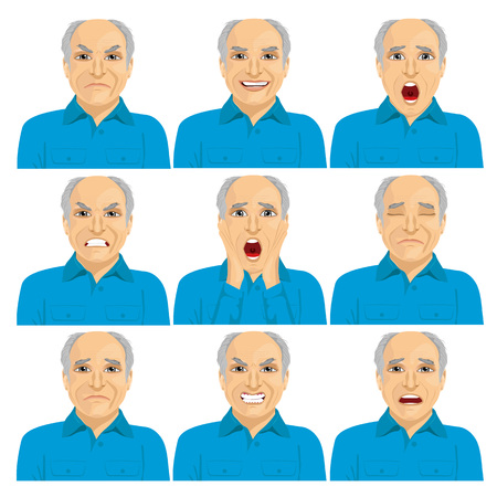 making face: collection of senior adult bald man making six different face expressions isolated on white background