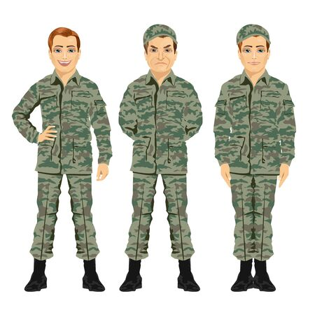 against white: three army soldiers posing against white background