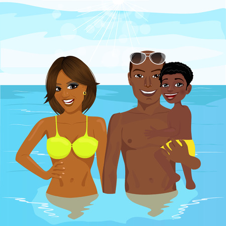 vacation time: happy african american family enjoying vacation time resting at the resort
