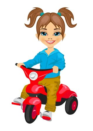tricycle: cute little girl riding a tricycle isolated over white background