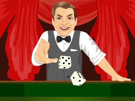 throwing: handsome mature man throwing dice in casino playing craps Illustration