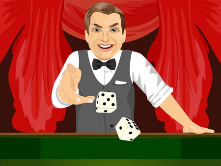 craps: handsome mature man throwing dice in casino playing craps Illustration