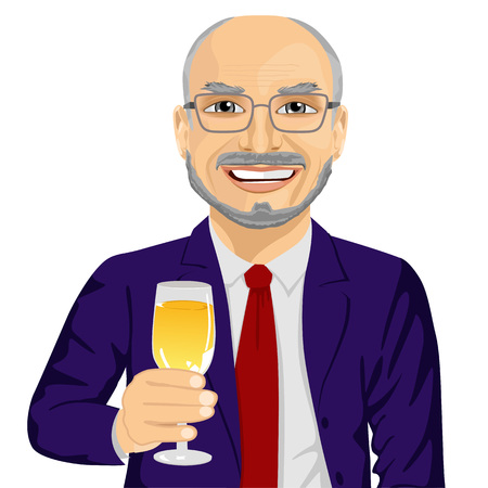 toasting wine: successful smiling senior businessman toasting with a glass of champagne isolated over white background