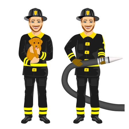 rescuing: two happy firemen working holding hose and rescuing cute dog isolated on white