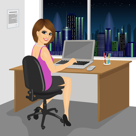 over the shoulder: back view of successful businesswoman sitting working with laptop at office in the evening Illustration