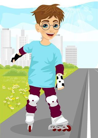 little skate: boy with glasses skating on rollerblades on sidewalk along the road