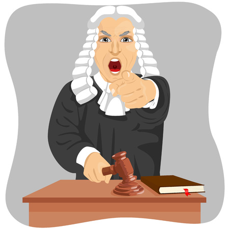 Angry judge yelling and pointing his finger at someone knocking gavel isolated on gray background Illustration