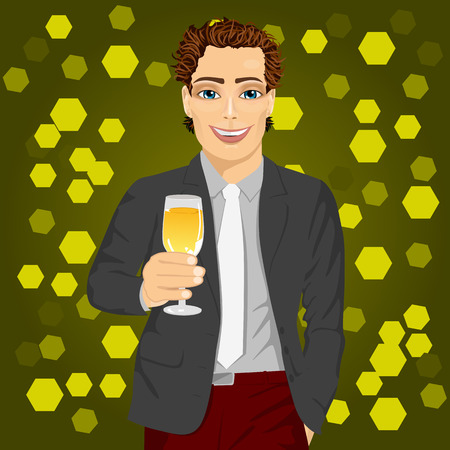 handsome young man: handsome young man holding a glass of champagne at the night club party Illustration