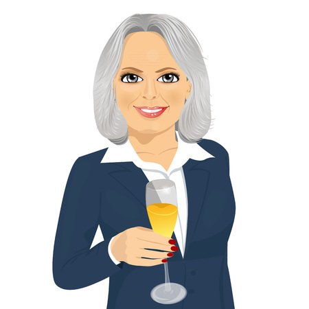 toasting: successful smiling senior businesswoman toasting with a glass of champagne isolated over white background