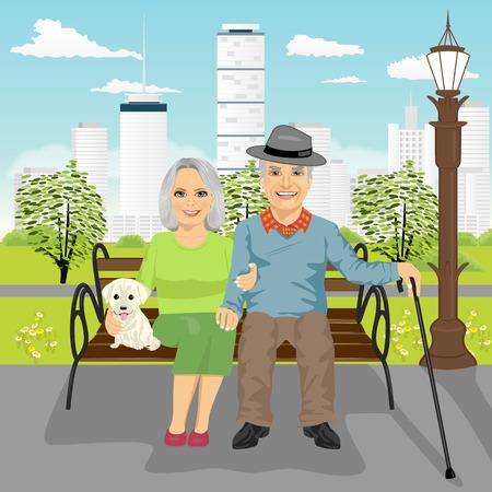 coppia di anziani seduti sul banco di legno con il cane di riposo nel parco cittadino