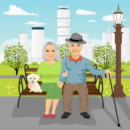 senior couple sitting on wooden bench with dog resting in the city park