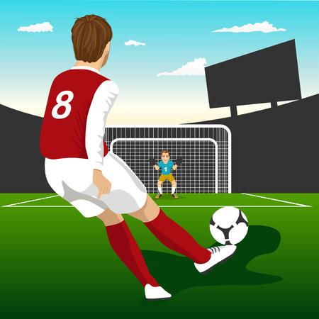vista posterior del jugador de fútbol saque de toma de penalti Ilustración de vector